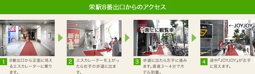 栄駅からのアクセス