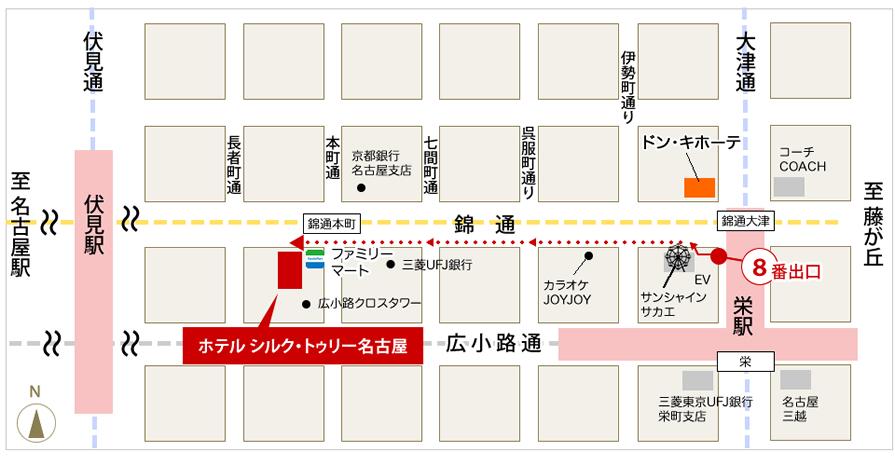 栄駅からのアクセスマップ